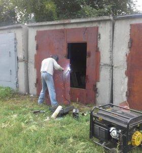 Ремонт расширение гаражных ворот. Сварочные работы