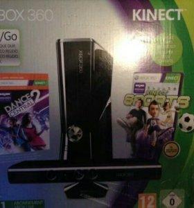 XBOX 360 + кинект + два джойстика + игры