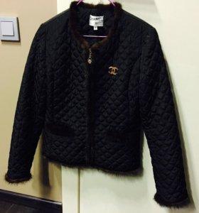 Куртка стеганая с норкой утеплённая