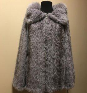 Куртка из вязаной норки голубая 44-46 новая