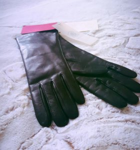 Перчатки кожаные с натуральным мехом