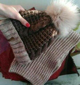 Новый Комплект шапка+шарф,шерсть 50%