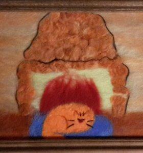 Картина из шерсти. Котик