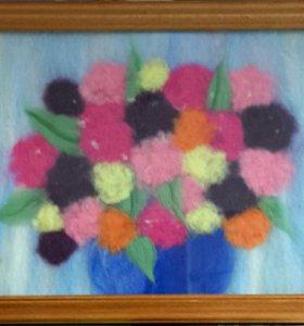 Картина из шерсти. Цветы