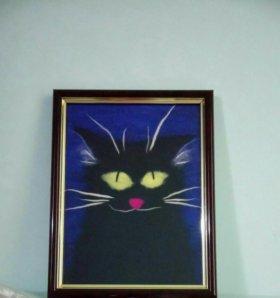 Картина кота шерстью