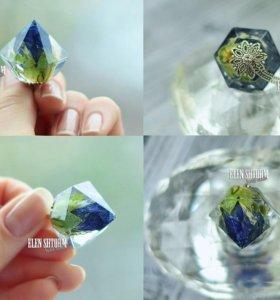 Кулон кристалл с синей розой, новый