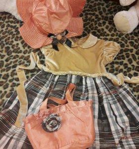 Комплект из платья шляпы и сумочки для девочки