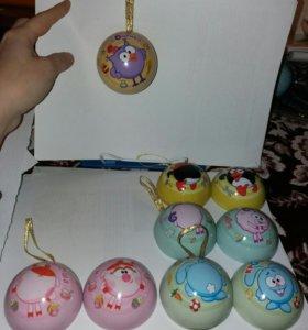 Новогодняя игрушка смешарики (5шт)
