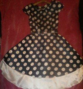 Платье в горошек+ремешок