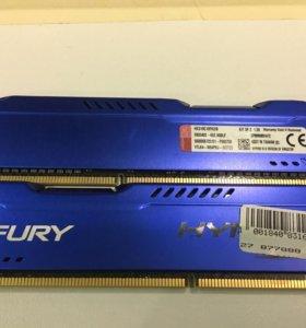 Dimm DDR3, 8Гб (2x4Гб), Kingston HyperX fury blue