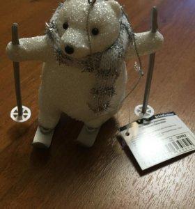 Мишка сувенир подарок Новый год игрушка елочная