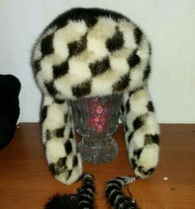 Норковая шапка разм.56-58,шнуровка