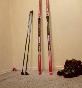 Лыжный комплект (ЛыжиTISA, ботин ,лыжные палочки)