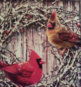 Ключница домик с птицами