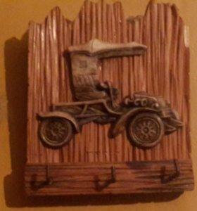 🚜Панно - вешалка со старинной костяной машиной