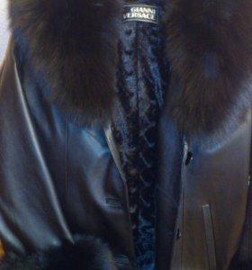 Пальто кожанное с мехом