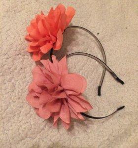 НОВЫЕ ободок ( розовый, оранжевый)