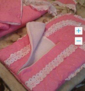 конверт+одеялко для девочки для выписки