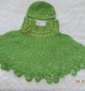 Платье для девочки+шапочка. Вяжу на заказ