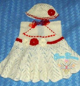 Платье + шапочка для девочки. Вяжу на заказ.