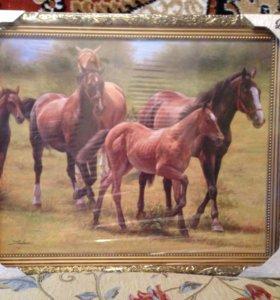 Картина с лошадьми (репродукция)