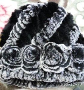 Новая шапка мех (кролик вязаный)
