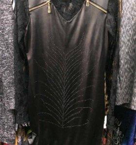 Платье кожаное + водолазка кружевная