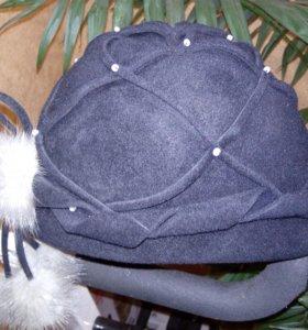 Шляпа фетровая с  натуральным мехом