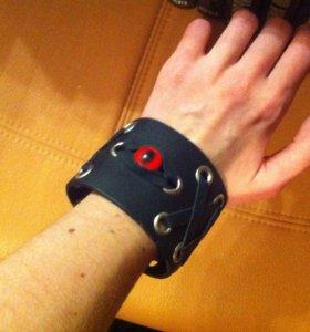 """Чёрный кожаный браслет с """"глазом"""""""