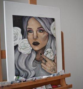 Портрет девушки с розами