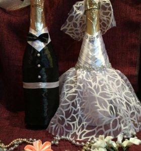Оформление свадебных аксессуаров, ручная работа