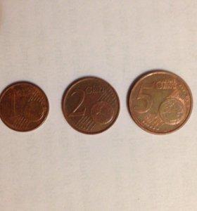 Набор монет 1, 2 и 5 евроцентов