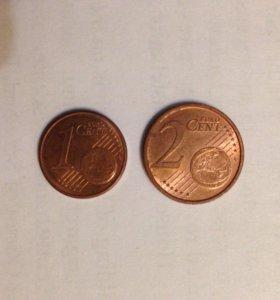 Лот из 1 и 2 евроцентов