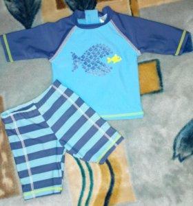 """Купальный костюм: шортики и футболка""""F&F"""" на 9-24м"""