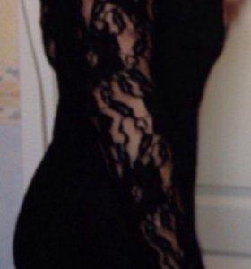 Платье чёрное ажурное