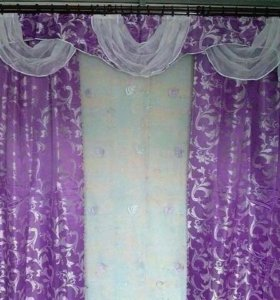 Продам ламбрекен + тюль + шторы