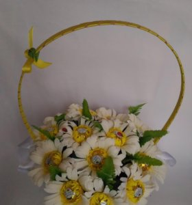 Корзинка цветов с конфетами