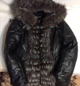 Куртка натуральная кожа и мех чернобурки