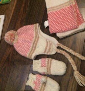 Комплект шапка+шарф+варежки