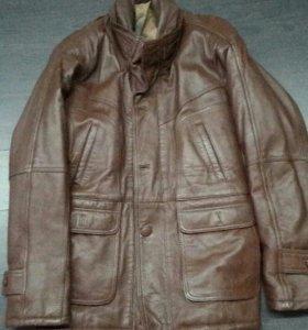 Мужская куртка, кожа, цвет коричневый 50-52 XL