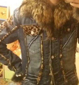 Куртка джинса мех натуральный