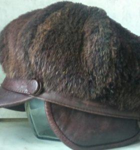 Шапка мех бобер кожа натуральная