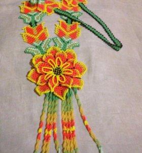Уичольский цветок в оранжевой гамме