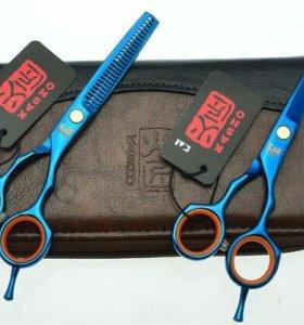 Парикмахерские ножницы Kasho, цвет голубой, р. 5,5