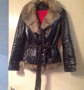 Продам зимнюю куртку натуральная кожа раз 42-44