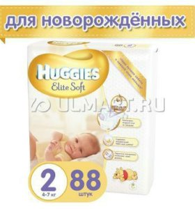 Подгузники Huggies Elite Soft 2 (4-7 кг) 88 шт.