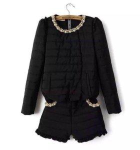 Черный тёплый костюм кофта шорты M-L