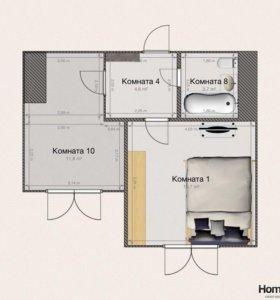 1 комнатная квартира, 37 кв.м