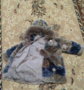 Детская шуба мутон+зимние сапожки и шапочка