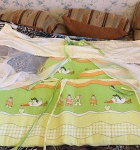 Бортики в кроватку+балдахин